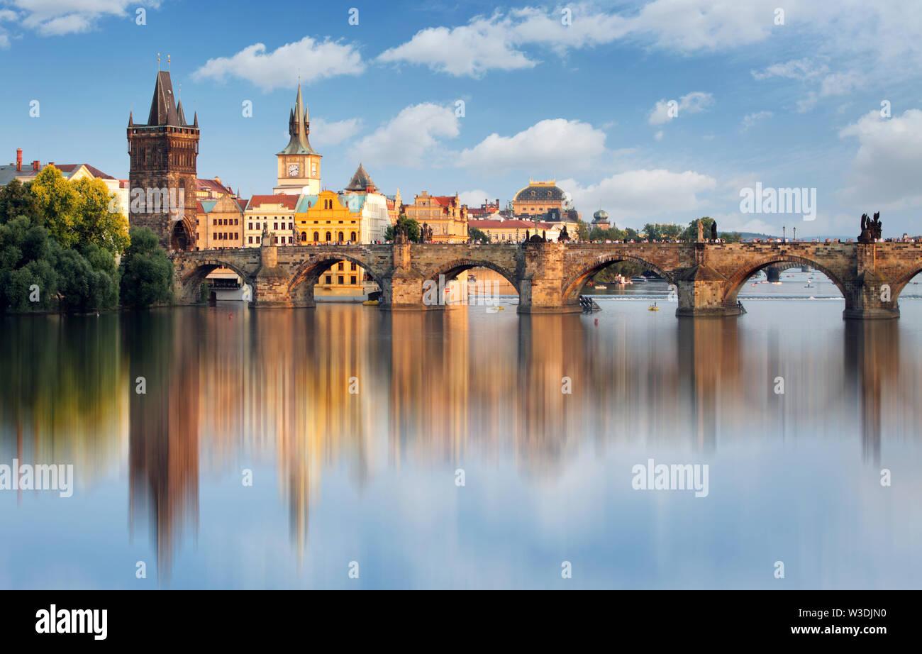 Charles bridge in Prague, Czech republic - Stock Image
