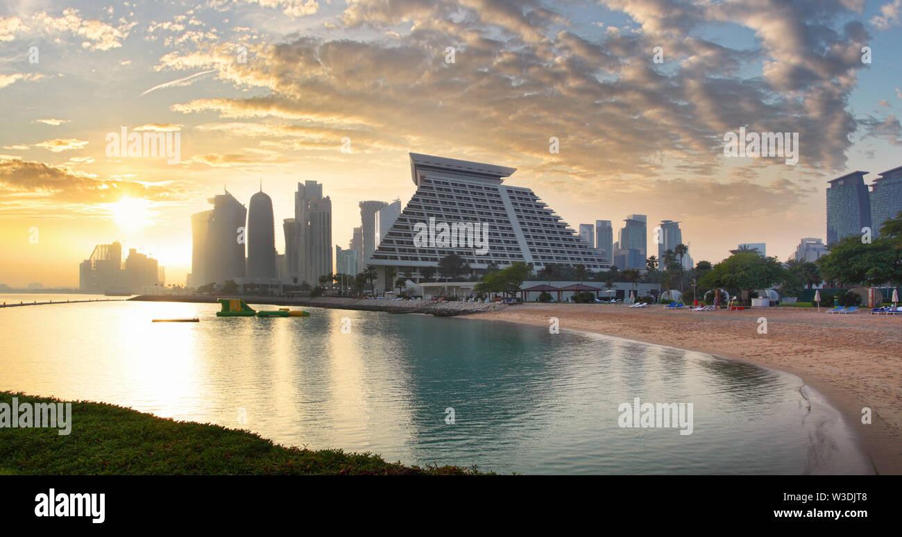 Doha city skyline city center after sunset, Qatar Stock Photo