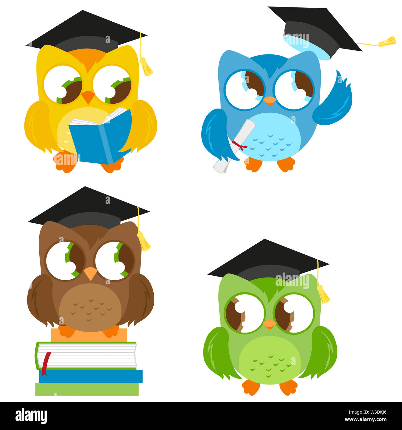 Illustration set of cute owls wearing mortarboard hats. - Stock Image