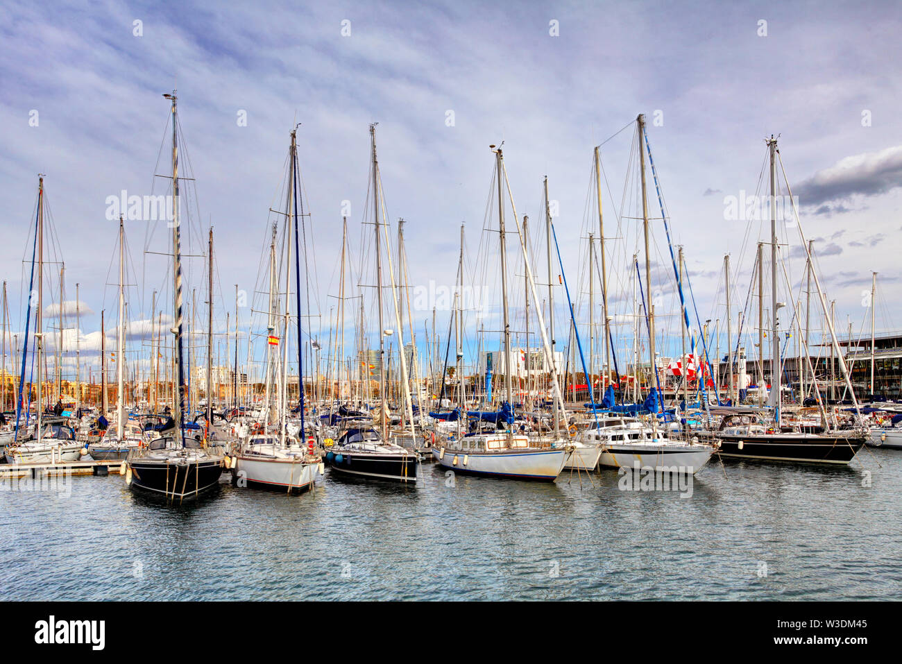 Port of Barcelona, Spain. Yachts, sailing boats Stock Photo