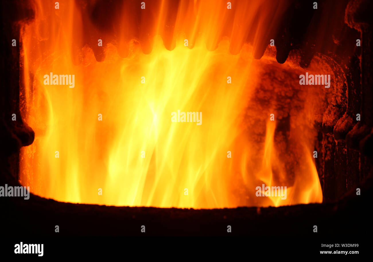 Furnace with fire Stock Photo