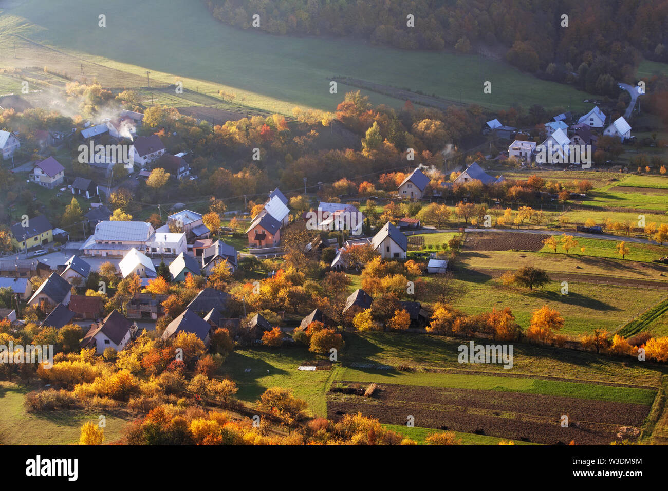 Autumnal landscape with village in Slovakia countryside Stock Photo
