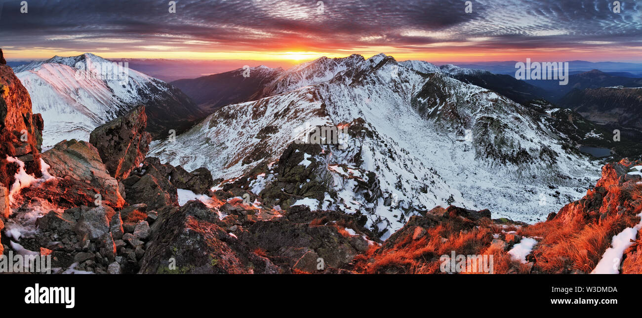 Winter mountain panorama landscape at sunset, Slovakia - West Tatras - Stock Image