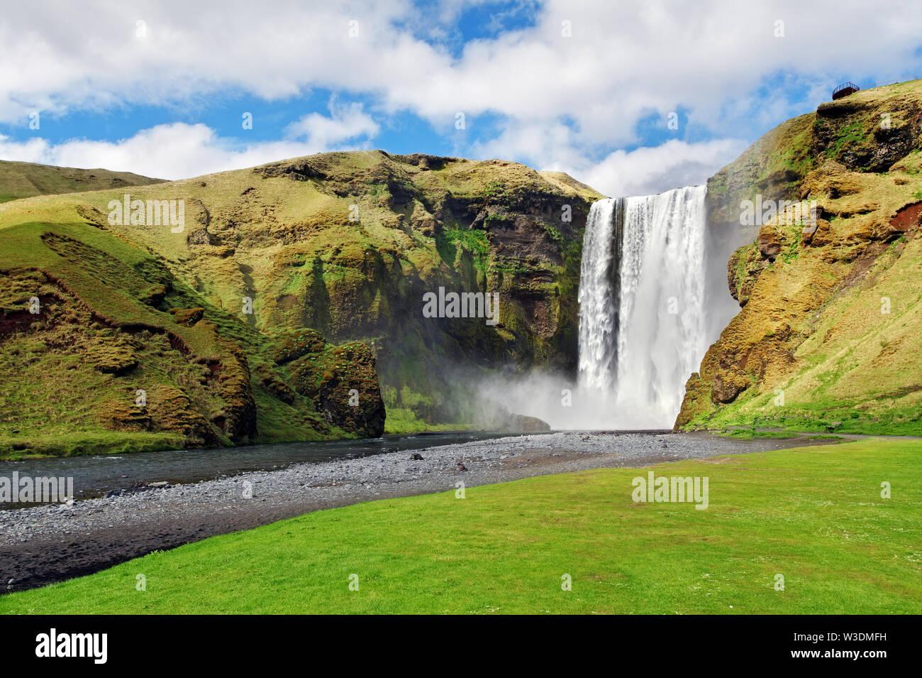 Iceland waterfall - Skogafoss Stock Photo