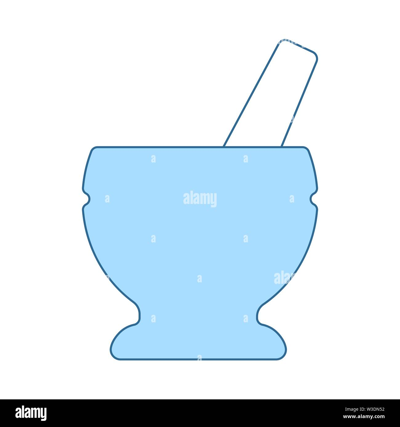 Icon Of Chemistry Mortar. Thin Line With Blue Fill Design. Vector Illustration. - Stock Image