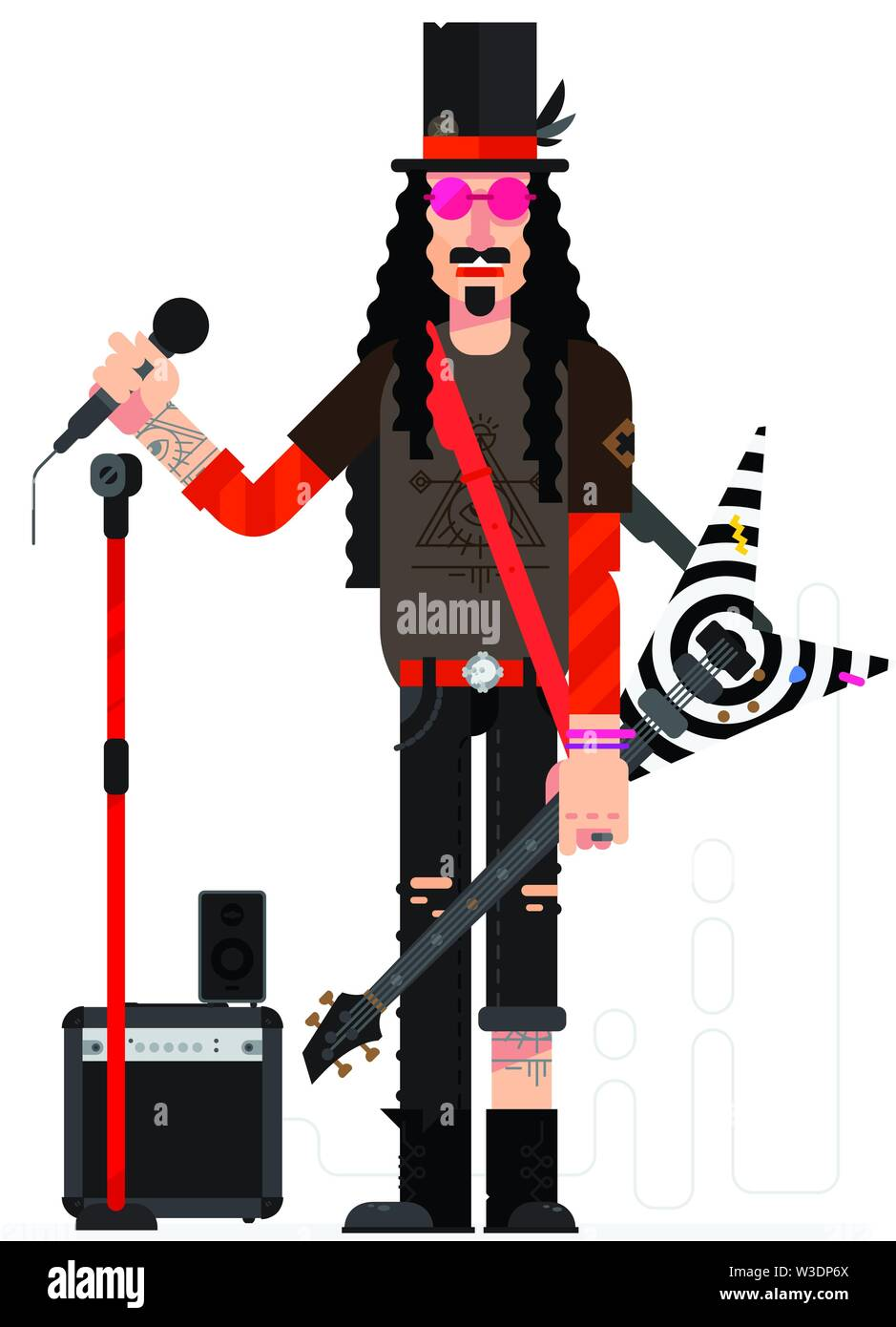 Rock star in flat technique isolated on white background. Musician with a guitar and a microphone sings. Illustration of a musician with a hat and tat - Stock Vector