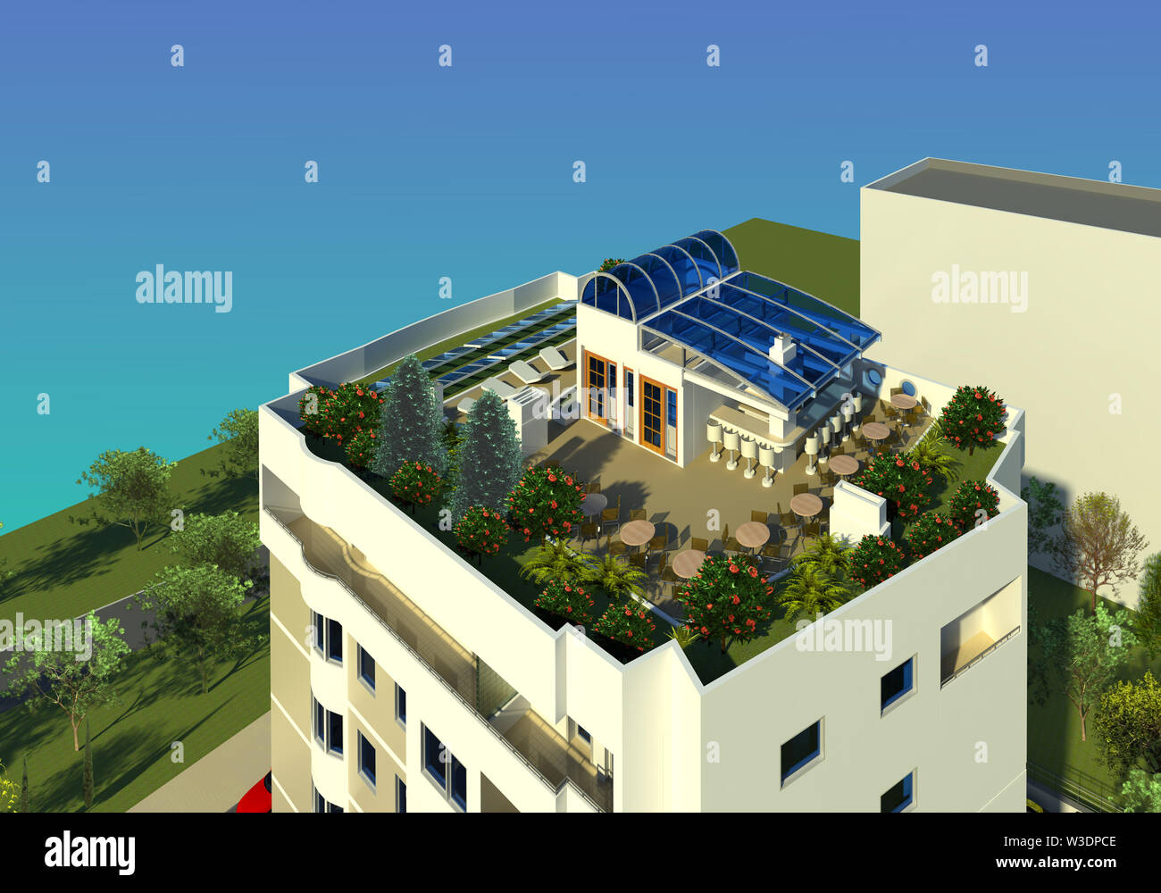 Roof Top Green Area Architectural Model Design 3d Illustration 1 Residential Building Roof Terrace And Recreation Area Perspective Collection Stock Photo Alamy