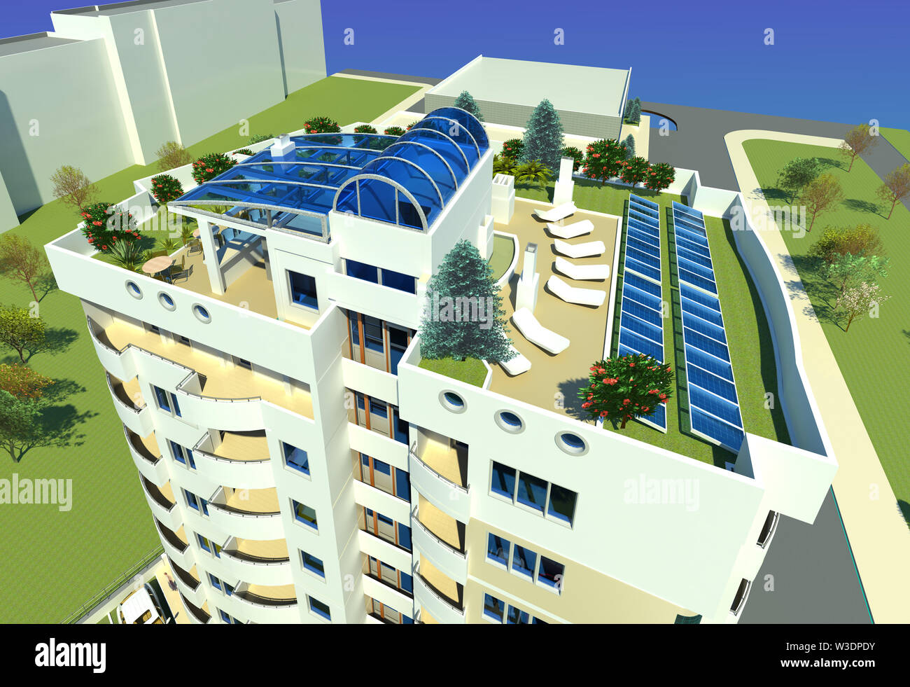 Roof top green area architectural model design 3D
