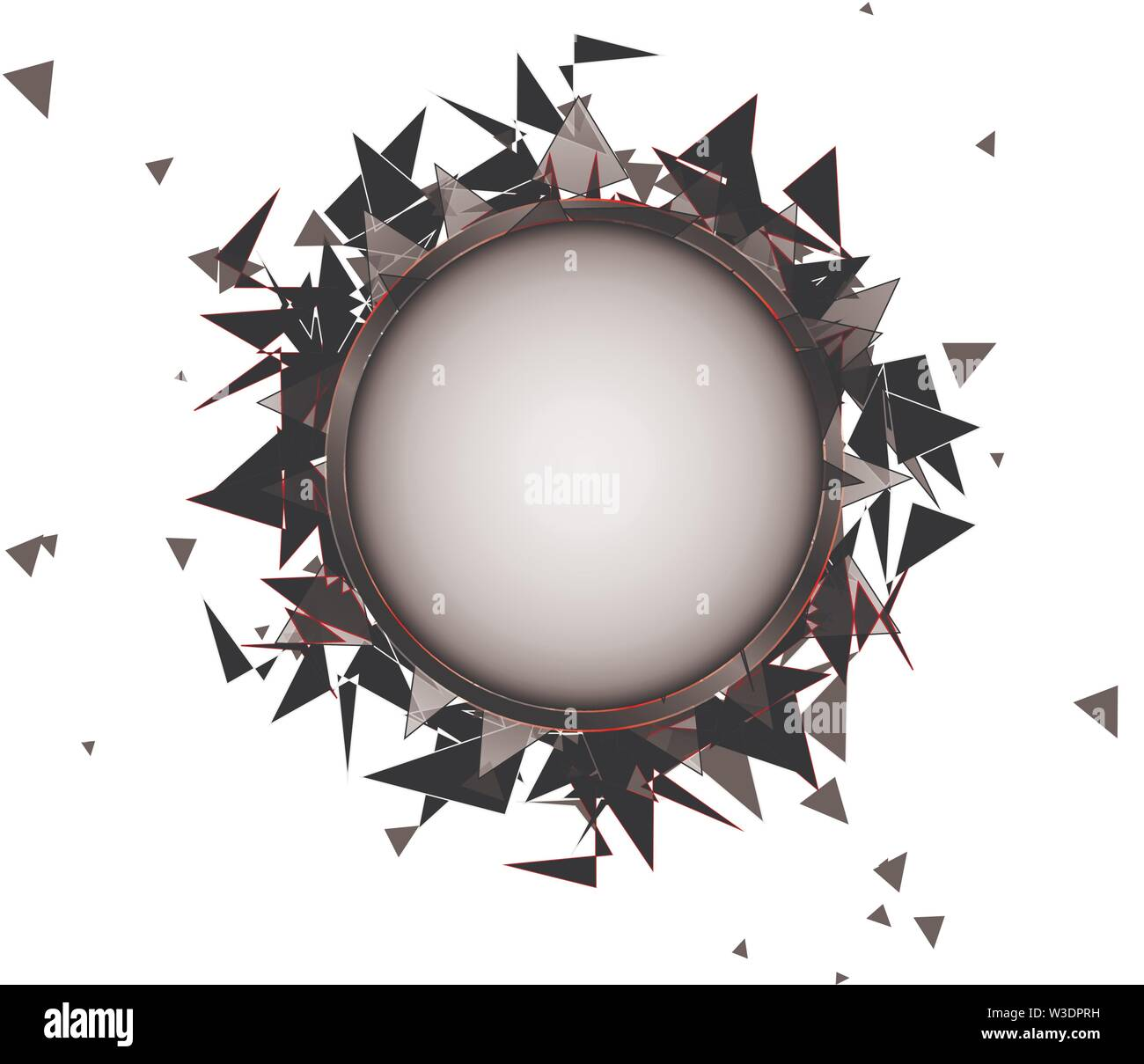 Abstract explosion of black glass on a white background - Stock Image