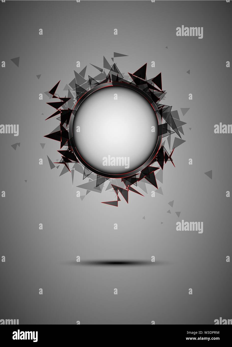 Abstract explosion of black glass. Background illustration. - Stock Image