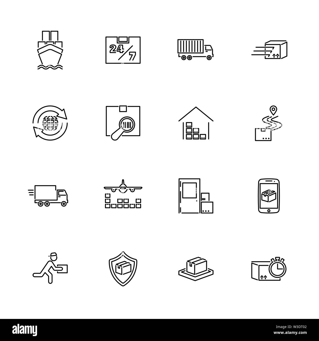 Shipping, Delivery Cargo outline icons set - Black symbol on white background. Shipping, Delivery Cargo Simple Illustration Symbol - lined simplicity - Stock Image