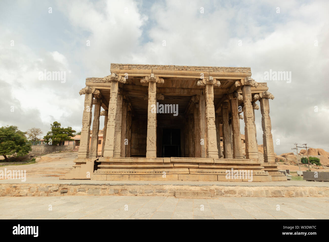 Holy Kadale Kalu ganesha temple in Hampi, Karnataka, India - Stock Image