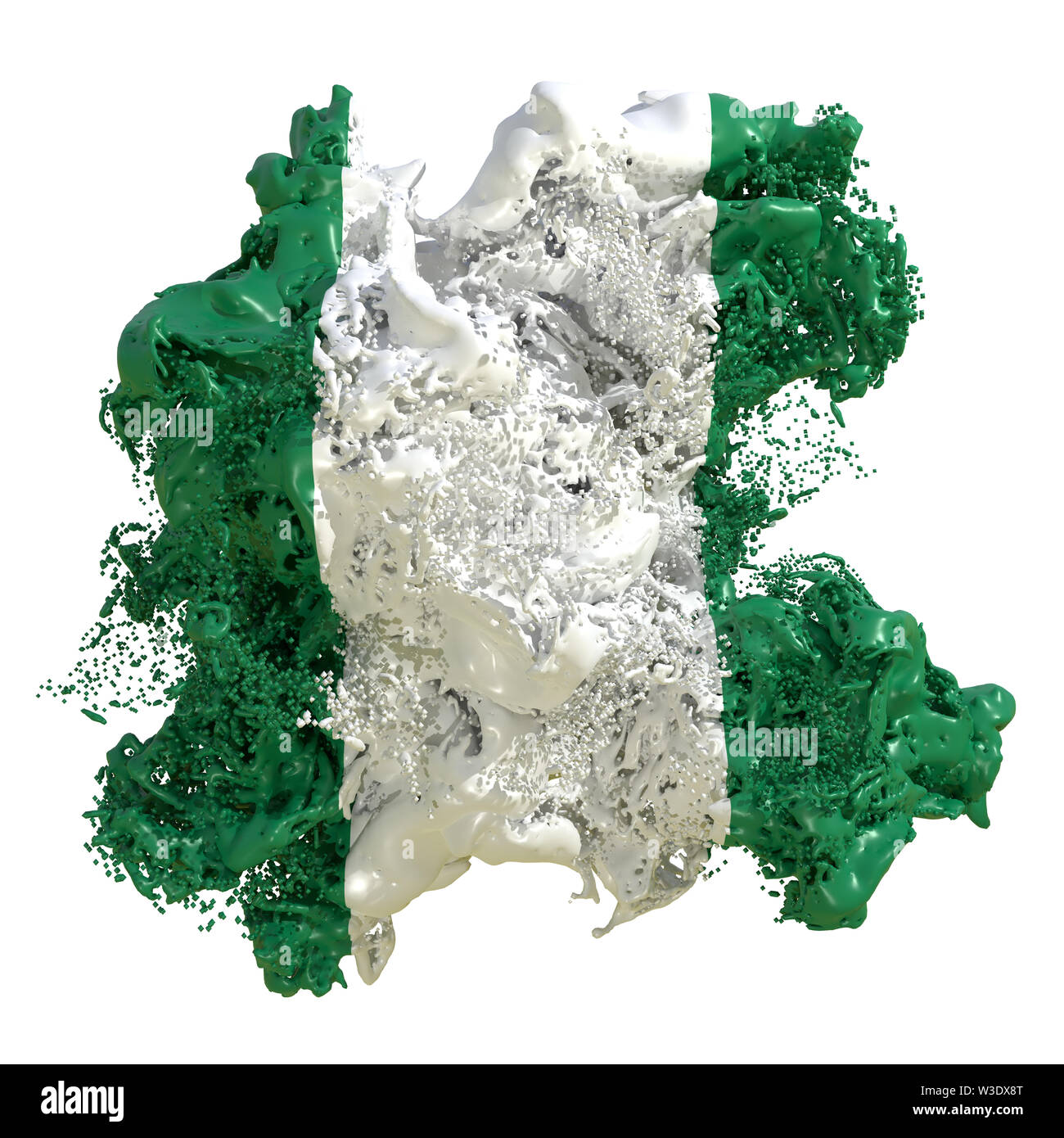 3d rendering of a Nigeria country flag in a liquid fluid. Isolated on white background - Stock Image