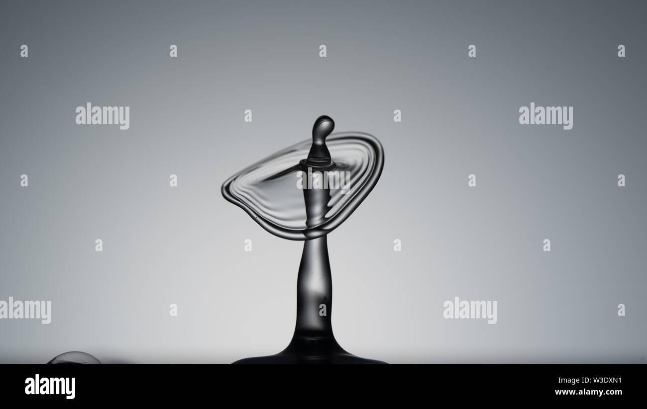 Macro shot of a water drop collision. abstract  water splash - Stock Image
