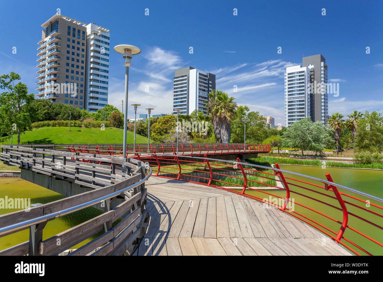 Diagonal Mar park,designed by Enric Miralles and Benedetta Tagliabue. Barcelona, Catalonia, Spain. Stock Photo
