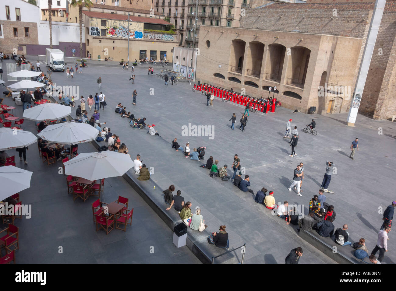 BARCELONA, SPAIN- MAY 5,2019: Square, Plaza Angels close to MACBA museum in El Raval quarter. - Stock Image