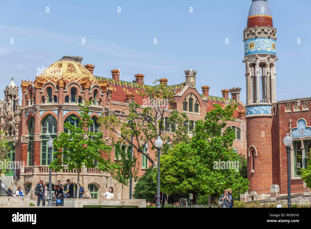BARCELONA,SPAIN-APRIL 25,2019: Modernist style complex, Hospital de Sant Pau i de la Santa Creu, designed by Lluis Domenech i Montaner. UNESCO world h - Stock Image