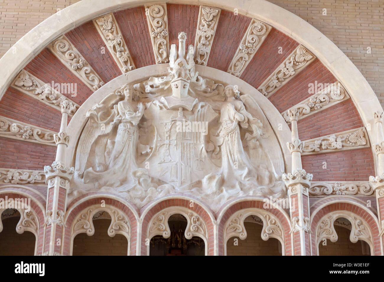BARCELONA,SPAIN-APRIL 253,2019: Modernist style complex, Hospital de Sant Pau i de la Santa Creu, designed by Lluis Domenech i Montaner. UNESCO world - Stock Image