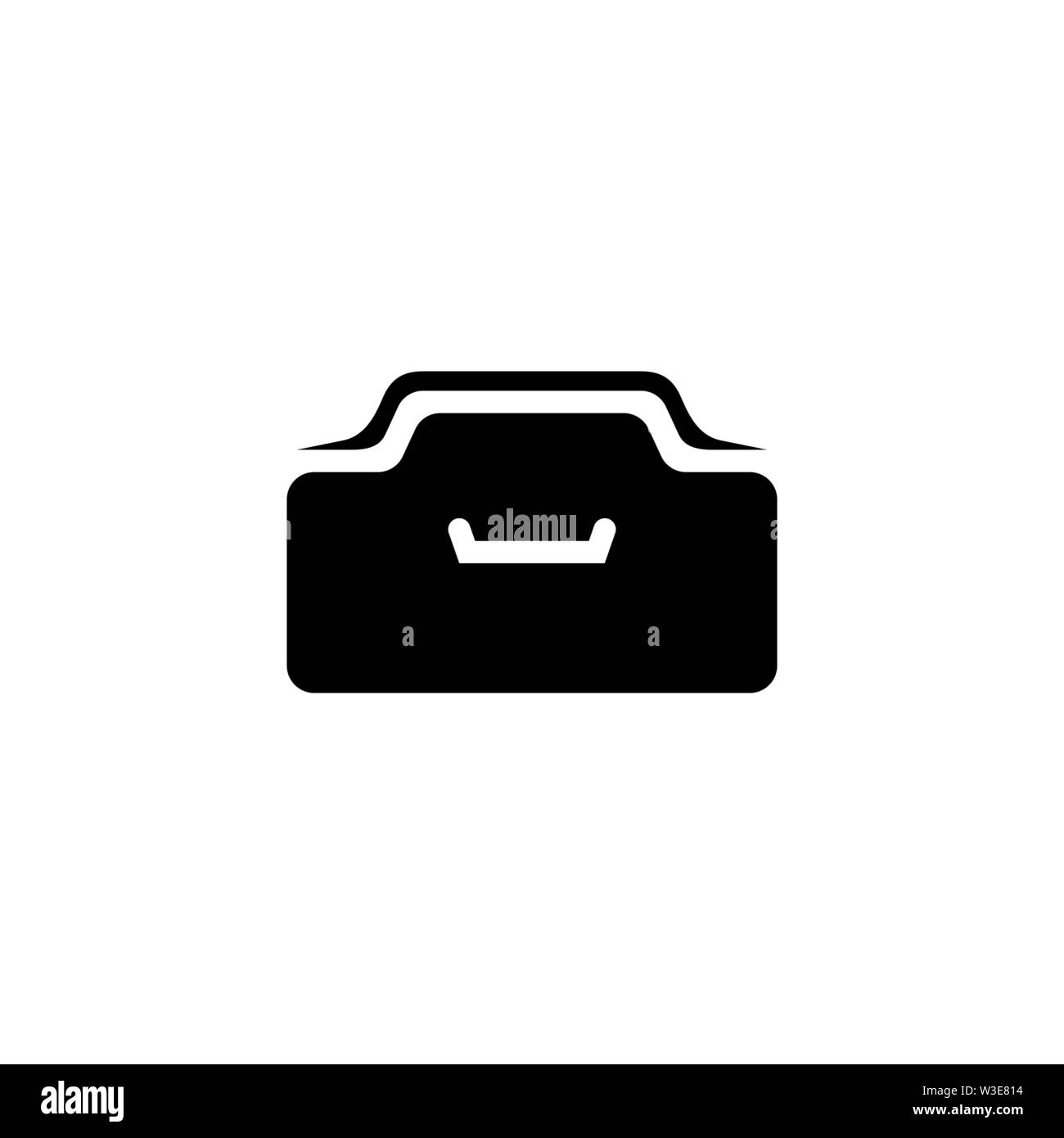 Office Drawer. Flat Vector Icon illustration. Simple black symbol on white background. Office Drawer sign design template for web and mobile UI elemen - Stock Image