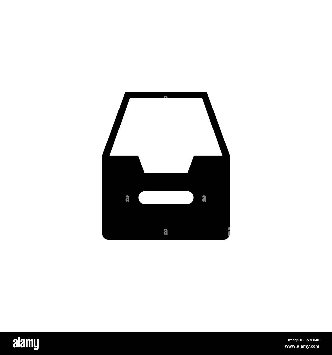 Folder Archive, Cabinet Drawer. Flat Vector Icon illustration. Simple black symbol on white background. Folder Archive, Cabinet Drawer sign design tem - Stock Image