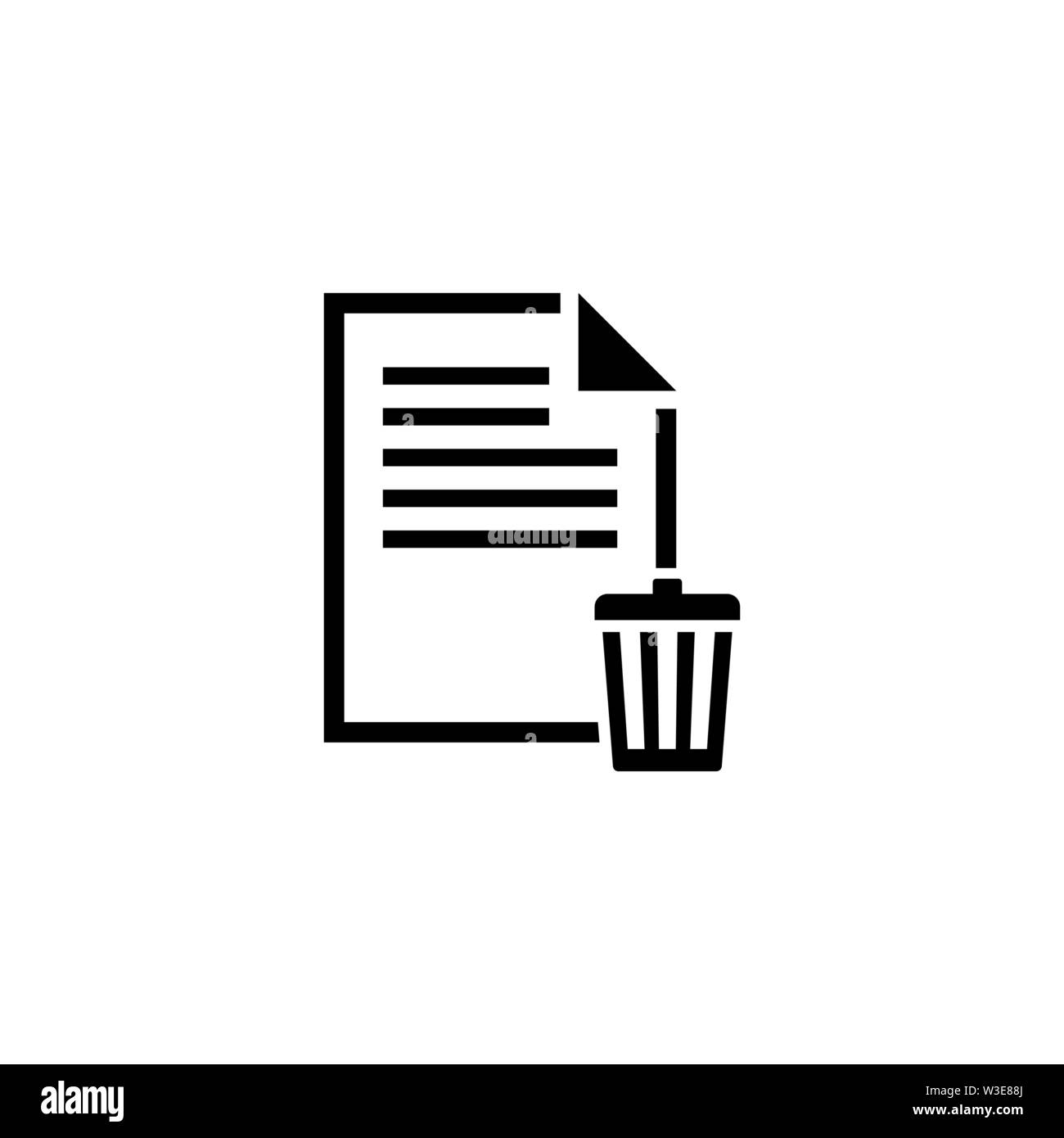 Delete File, Trash Paper Document Flat Vector Icon illustration. Simple black symbol on white background. Delete File, Trash Paper Document sign desig - Stock Image