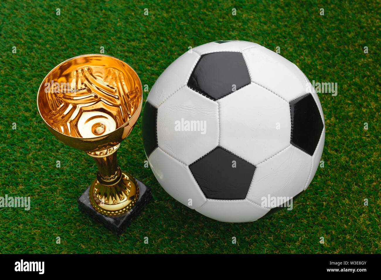 Football cup with football ball on grass - Stock Image
