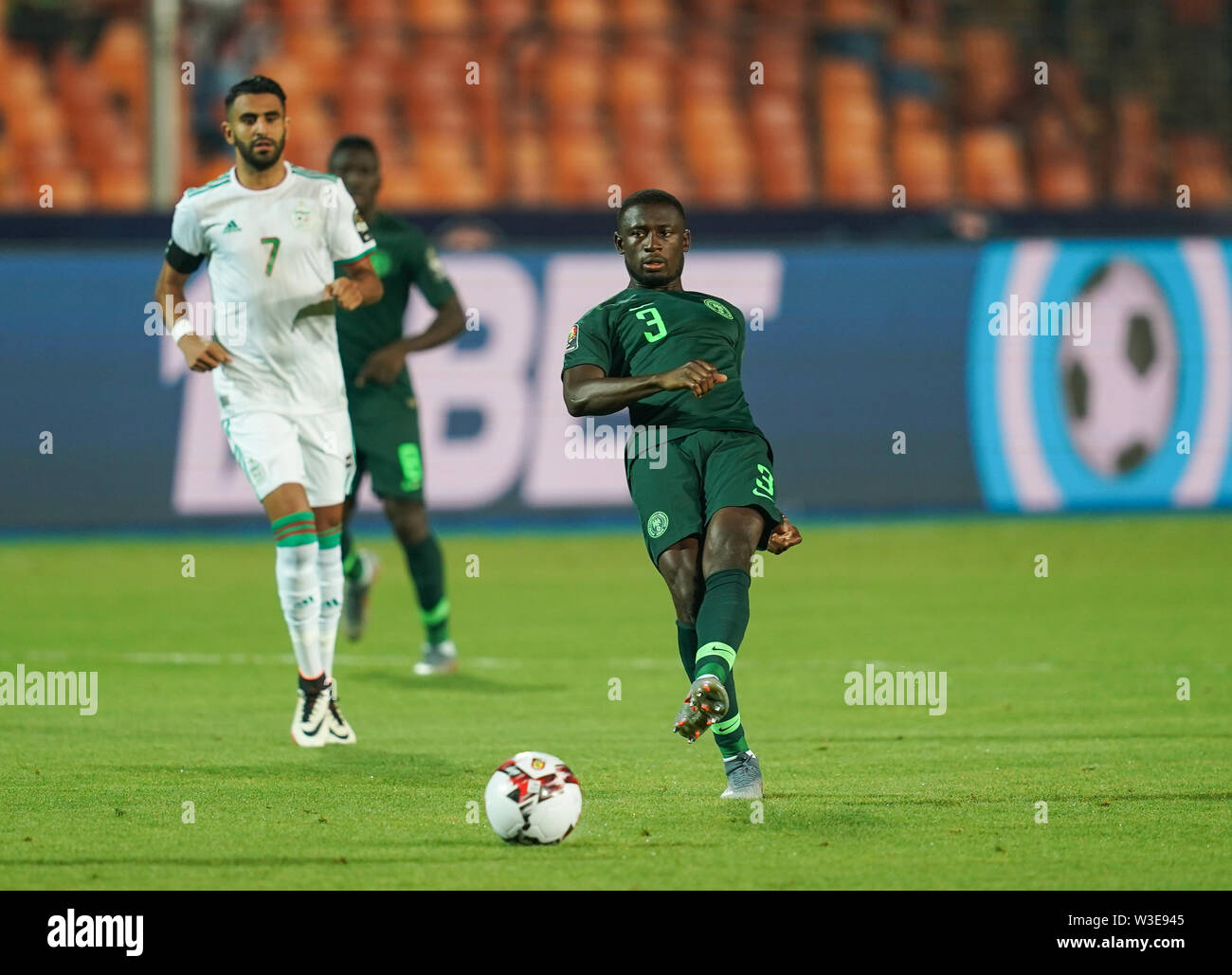 Cairo, Algeria, Egypt. 14th July, 2019. FRANCE OUT July 14, 2019: Jamilu Collins of Nigeria during the 2019 African Cup of Nations match between Algeria and Nigeria at the Cairo International Stadium in Cairo, Egypt. Ulrik Pedersen/CSM/Alamy Live News - Stock Image
