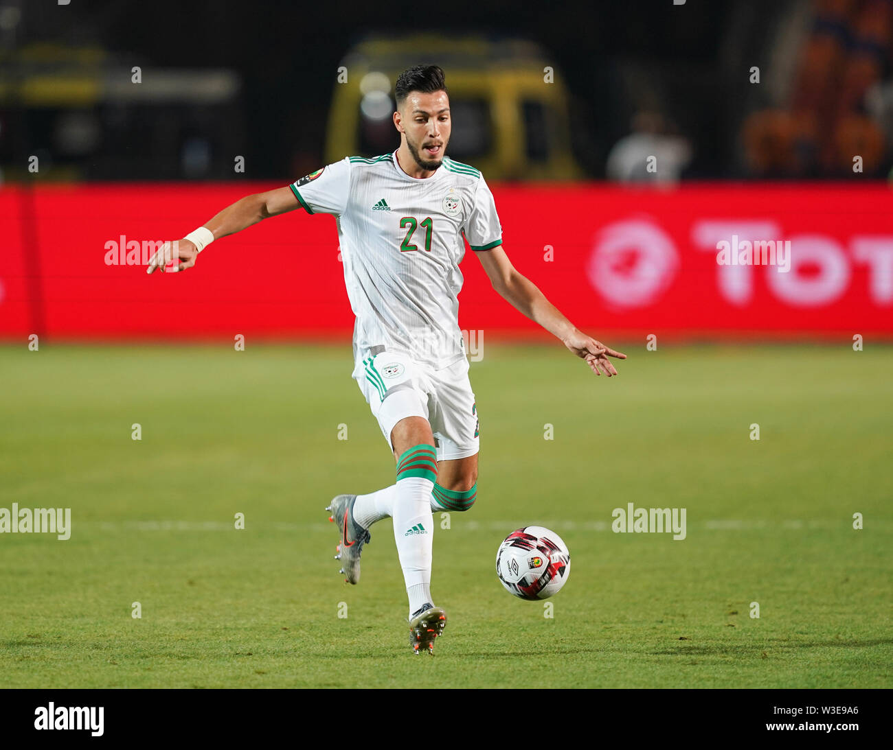 Cairo, Algeria, Egypt. 14th July, 2019. FRANCE OUT July 14, 2019: Amir Selmane Rami Bensebaini of Algeria during the 2019 African Cup of Nations match between Algeria and Nigeria at the Cairo International Stadium in Cairo, Egypt. Ulrik Pedersen/CSM/Alamy Live News - Stock Image