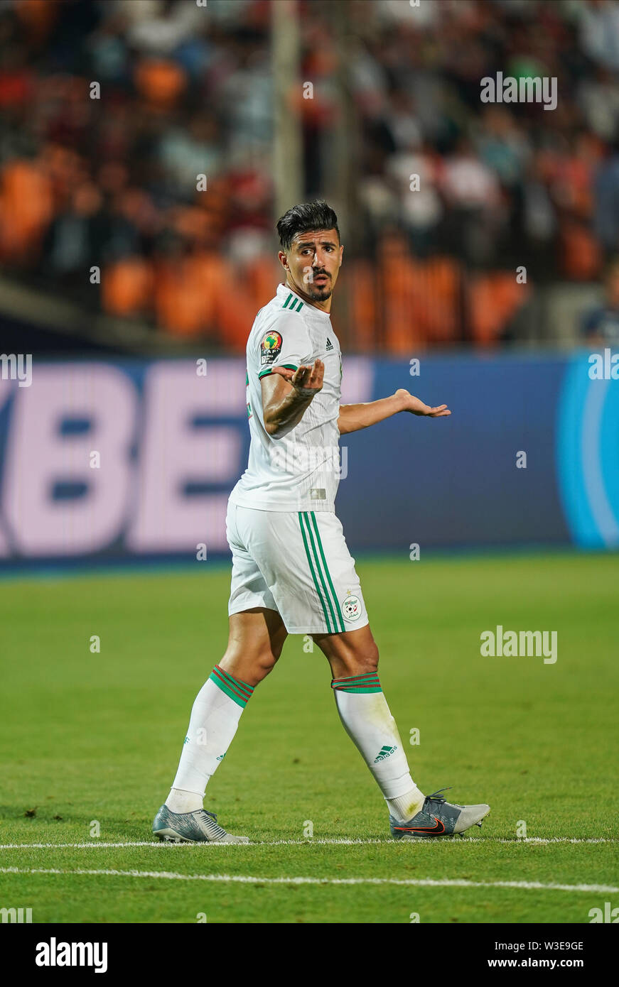 Cairo, Algeria, Egypt. 14th July, 2019. FRANCE OUT July 14, 2019: Baghdad Bounedjah of Algeria during the 2019 African Cup of Nations match between Algeria and Nigeria at the Cairo International Stadium in Cairo, Egypt. Ulrik Pedersen/CSM/Alamy Live News - Stock Image
