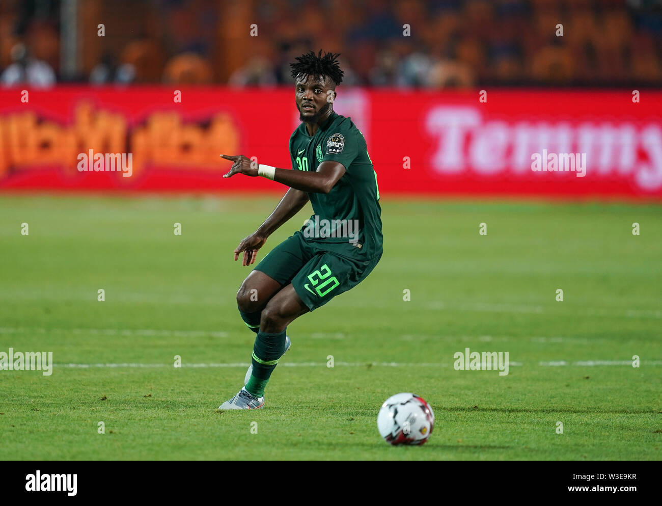 Cairo, Algeria, Egypt. 14th July, 2019. FRANCE OUT July 14, 2019: Awaziem Chidozie Collins of Nigeria during the 2019 African Cup of Nations match between Algeria and Nigeria at the Cairo International Stadium in Cairo, Egypt. Ulrik Pedersen/CSM/Alamy Live News - Stock Image
