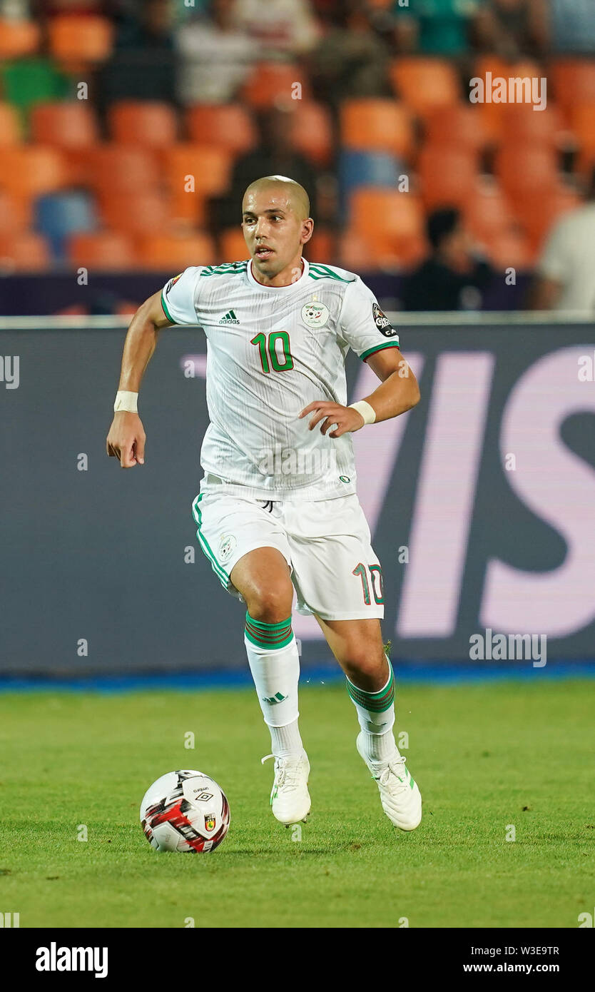 July 14, 2019 - Cairo, Algeria, Egypt - FRANCE OUT July 14, 2019: Sofiane Feghouli of Algeria during the 2019 African Cup of Nations match between Algeria and Nigeria at the Cairo International Stadium in Cairo, Egypt. Ulrik Pedersen/CSM. - Stock Image