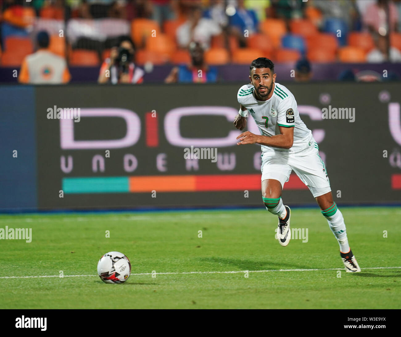 July 14, 2019 - Cairo, Algeria, Egypt - FRANCE OUT July 14, 2019: Riyad Karim Mahrez of Algeria during the 2019 African Cup of Nations match between Algeria and Nigeria at the Cairo International Stadium in Cairo, Egypt. Ulrik Pedersen/CSM. - Stock Image