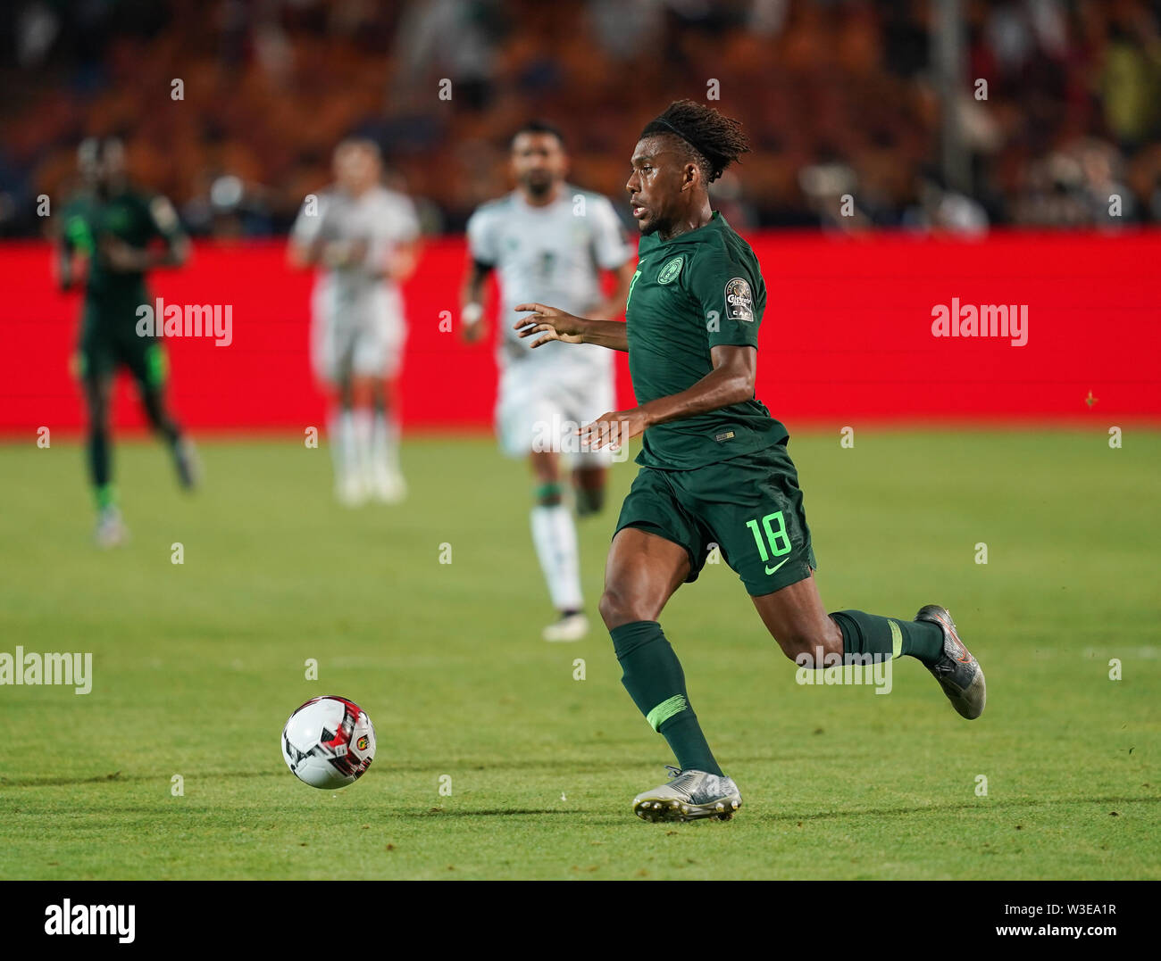 July 14, 2019 - Cairo, Algeria, Egypt - FRANCE OUT July 14, 2019: Alexander Chuka Iwobi of Nigeria during the 2019 African Cup of Nations match between Algeria and Nigeria at the Cairo International Stadium in Cairo, Egypt. Ulrik Pedersen/CSM. - Stock Image