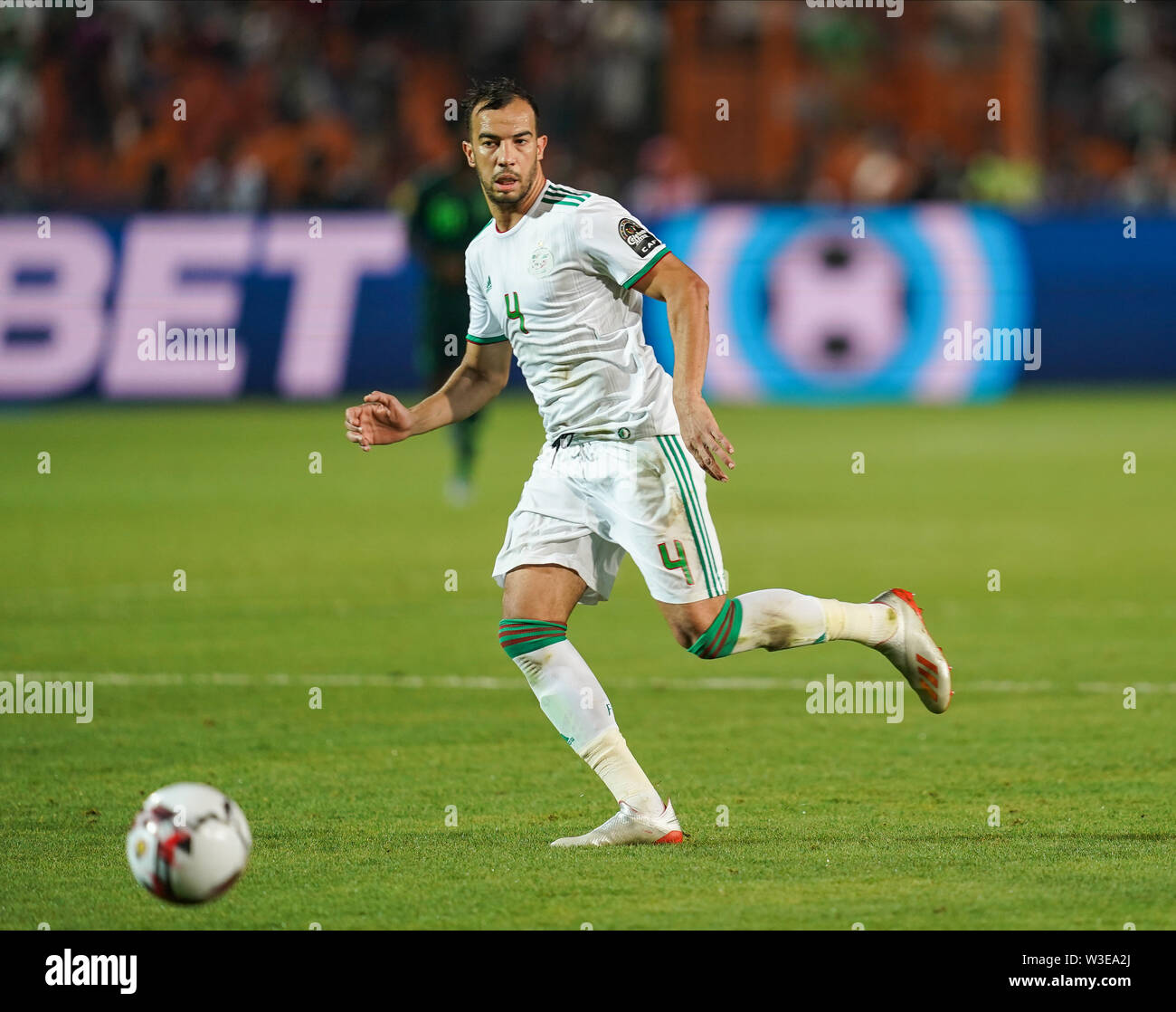 July 14, 2019 - Cairo, Algeria, Egypt - FRANCE OUT July 14, 2019: Djamel Eddine Benlamri of Algeria during the 2019 African Cup of Nations match between Algeria and Nigeria at the Cairo International Stadium in Cairo, Egypt. Ulrik Pedersen/CSM. - Stock Image