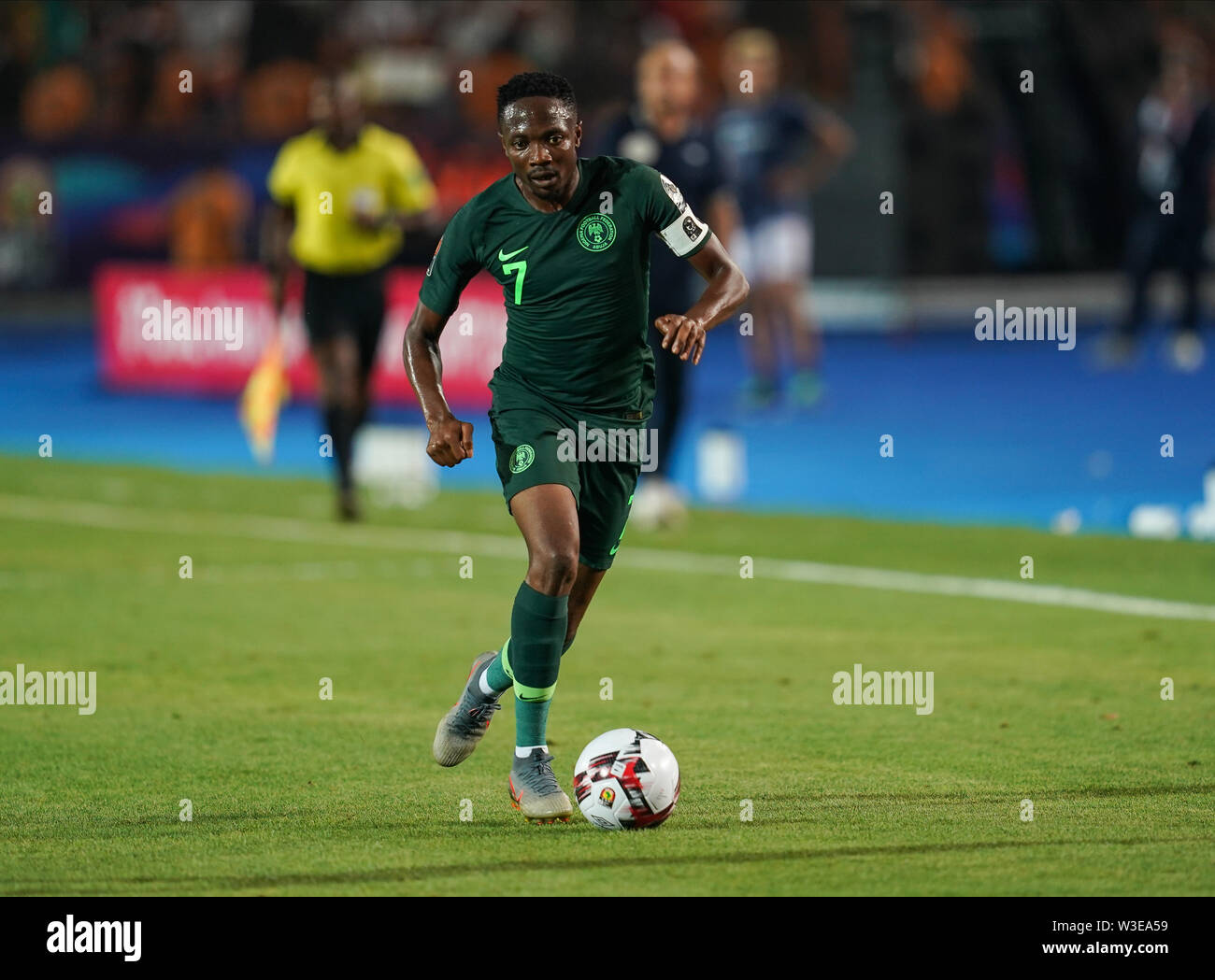 Cairo, Algeria, Egypt. 14th July, 2019. FRANCE OUT July 14, 2019: Ahmed Musa of Nigeria during the 2019 African Cup of Nations match between Algeria and Nigeria at the Cairo International Stadium in Cairo, Egypt. Ulrik Pedersen/CSM/Alamy Live News - Stock Image