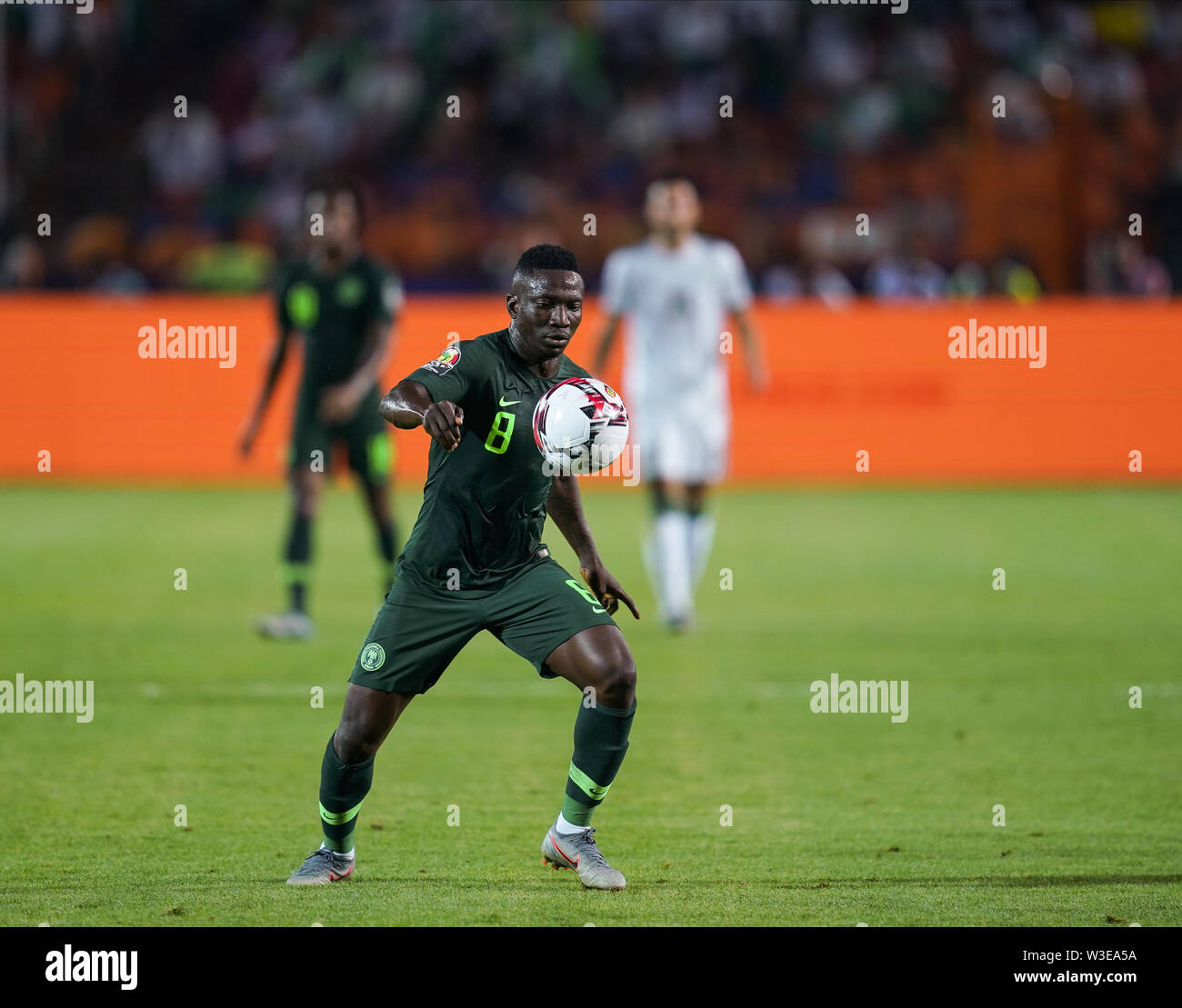 Cairo, Algeria, Egypt. 14th July, 2019. FRANCE OUT July 14, 2019: Oghenekaro Peter Etebo of Nigeria during the 2019 African Cup of Nations match between Algeria and Nigeria at the Cairo International Stadium in Cairo, Egypt. Ulrik Pedersen/CSM/Alamy Live News - Stock Image