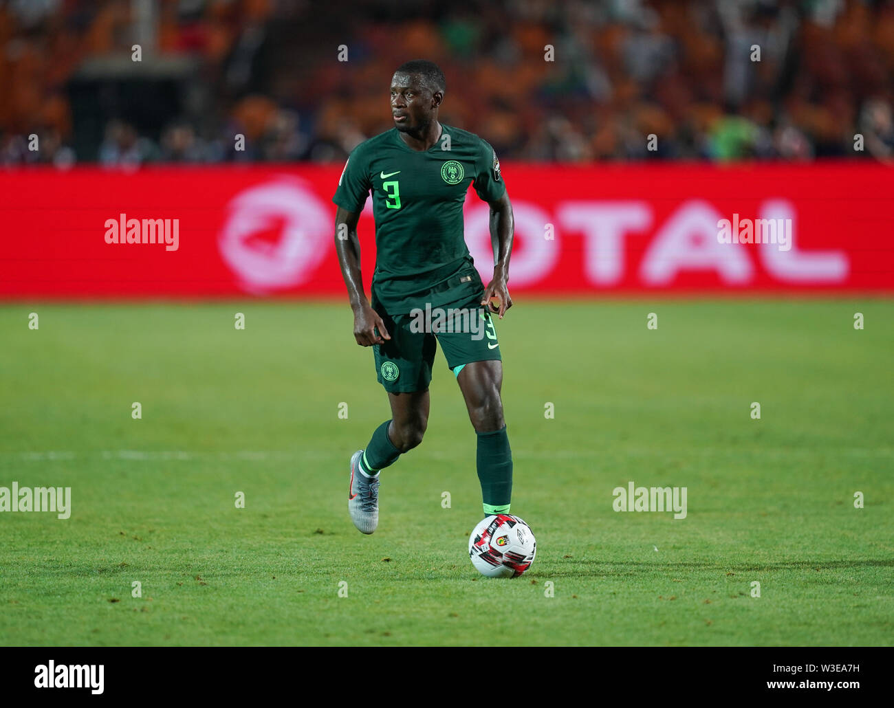 July 14, 2019 - Cairo, Algeria, Egypt - FRANCE OUT July 14, 2019: Jamilu Collins of Nigeria during the 2019 African Cup of Nations match between Algeria and Nigeria at the Cairo International Stadium in Cairo, Egypt. Ulrik Pedersen/CSM. - Stock Image