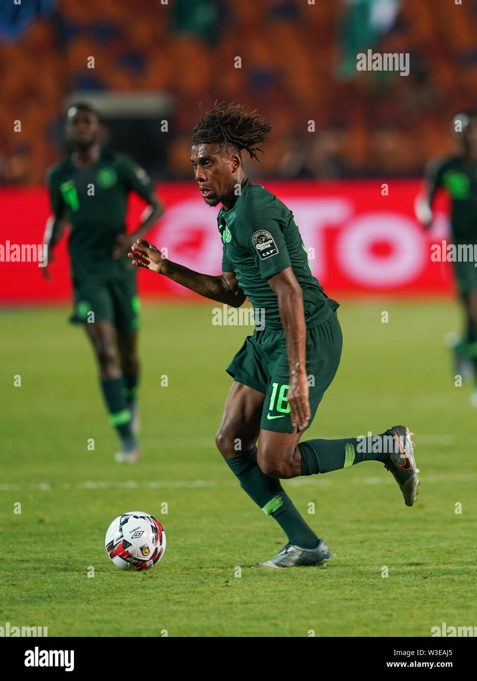 Cairo, Algeria, Egypt. 14th July, 2019. FRANCE OUT July 14, 2019: Alexander Chuka Iwobi of Nigeria during the 2019 African Cup of Nations match between Algeria and Nigeria at the Cairo International Stadium in Cairo, Egypt. Ulrik Pedersen/CSM/Alamy Live News - Stock Image