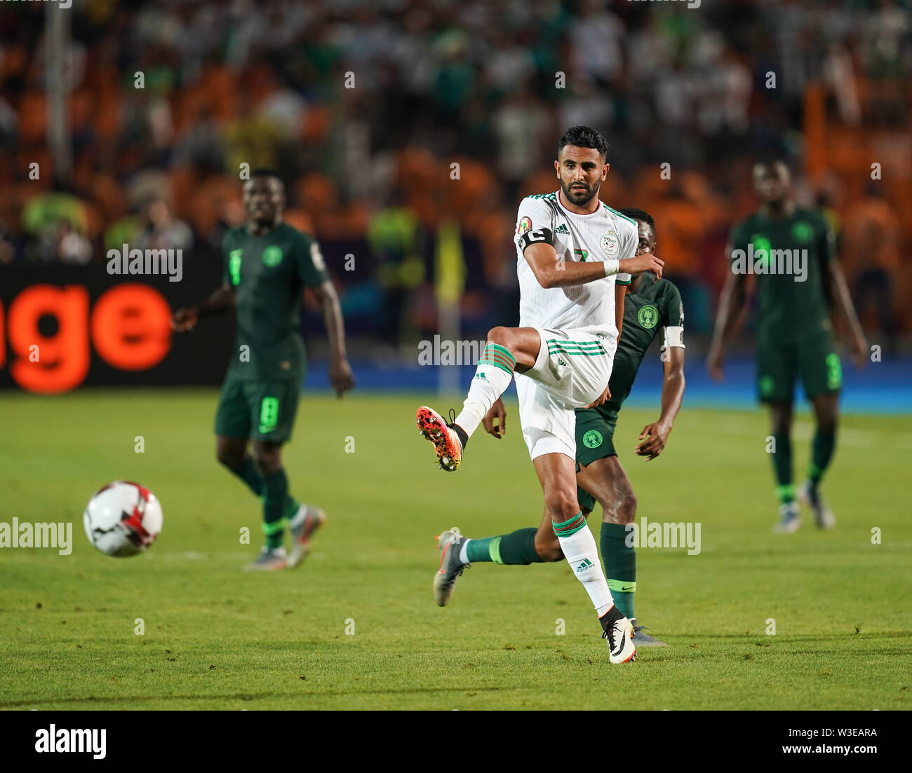 Cairo, Algeria, Egypt. 14th July, 2019. FRANCE OUT July 14, 2019: Riyad Karim Mahrez of Algeria during the 2019 African Cup of Nations match between Algeria and Nigeria at the Cairo International Stadium in Cairo, Egypt. Ulrik Pedersen/CSM/Alamy Live News - Stock Image
