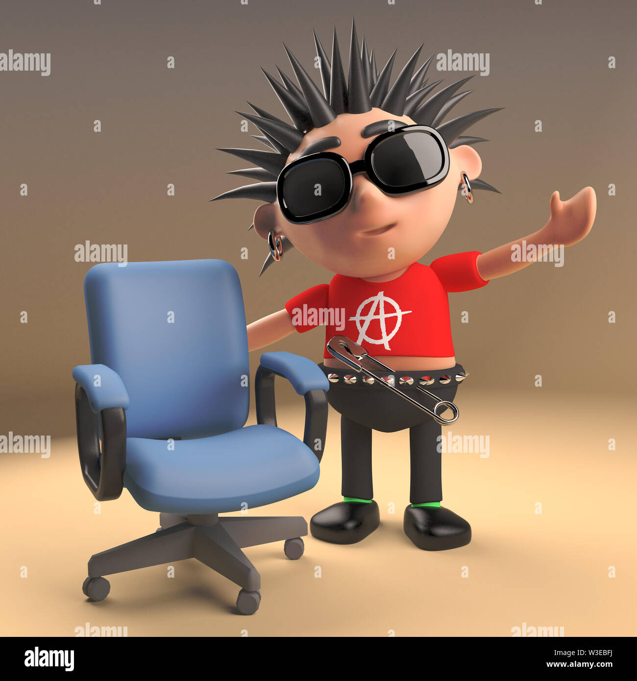 Funny Cartoon 3d Punk Rocker Character With Spikey Hair Standing Next To An Empty Chair 3d Illustration Render Stock Photo Alamy