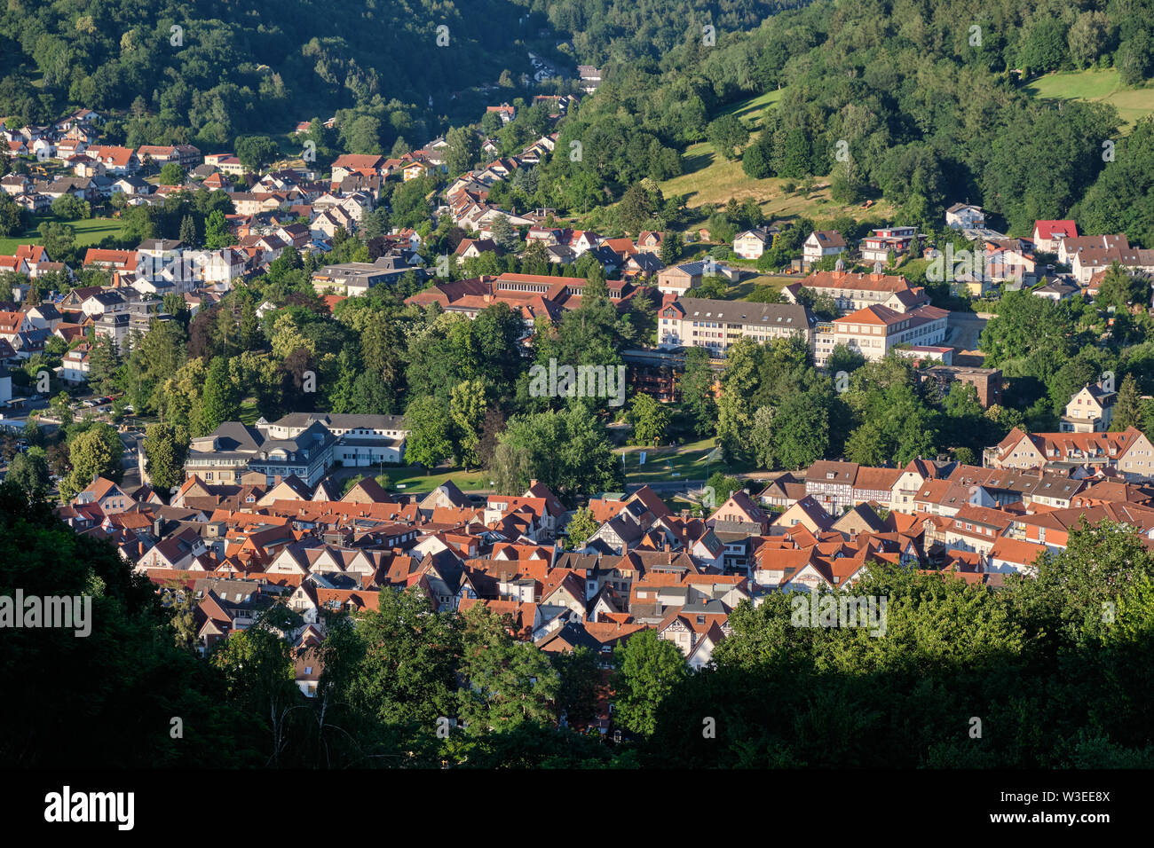 Bad Orb, Germany - June 28, 2019: View from the Wartturm on the Molkenberg hill to the townscape of Bad Orb with the buildings of the Spessart-Klinik - Stock Image