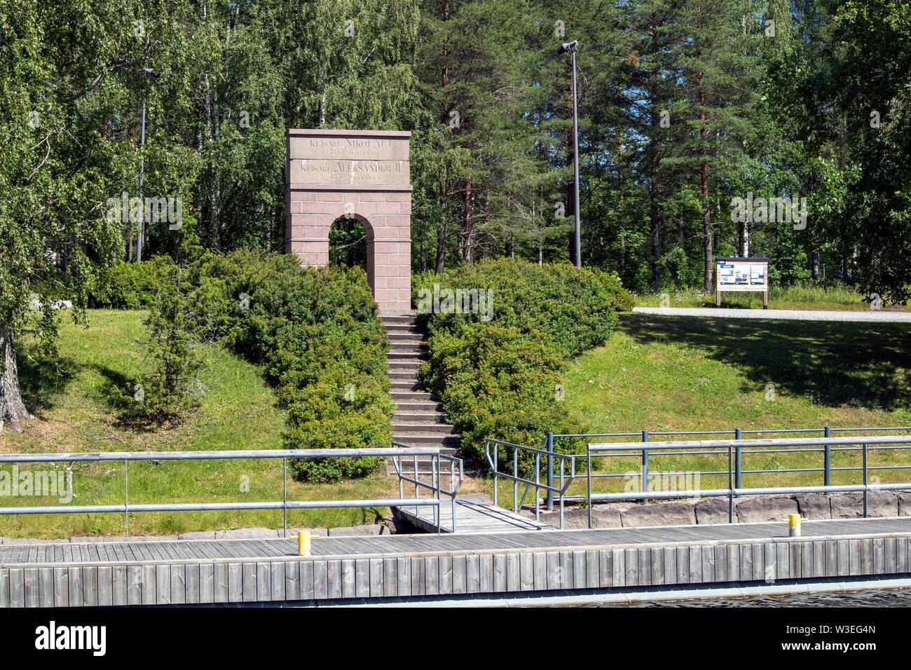 The Saimaa canal 150 years memorial, Lappeenranta Finland - Stock Image