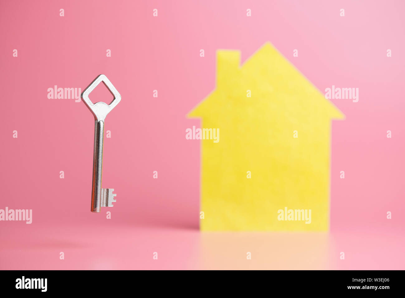 Buying new house in mortgage concept, copy space. Rental housing, or exchange. Property anti theft system protection. Stock Photo