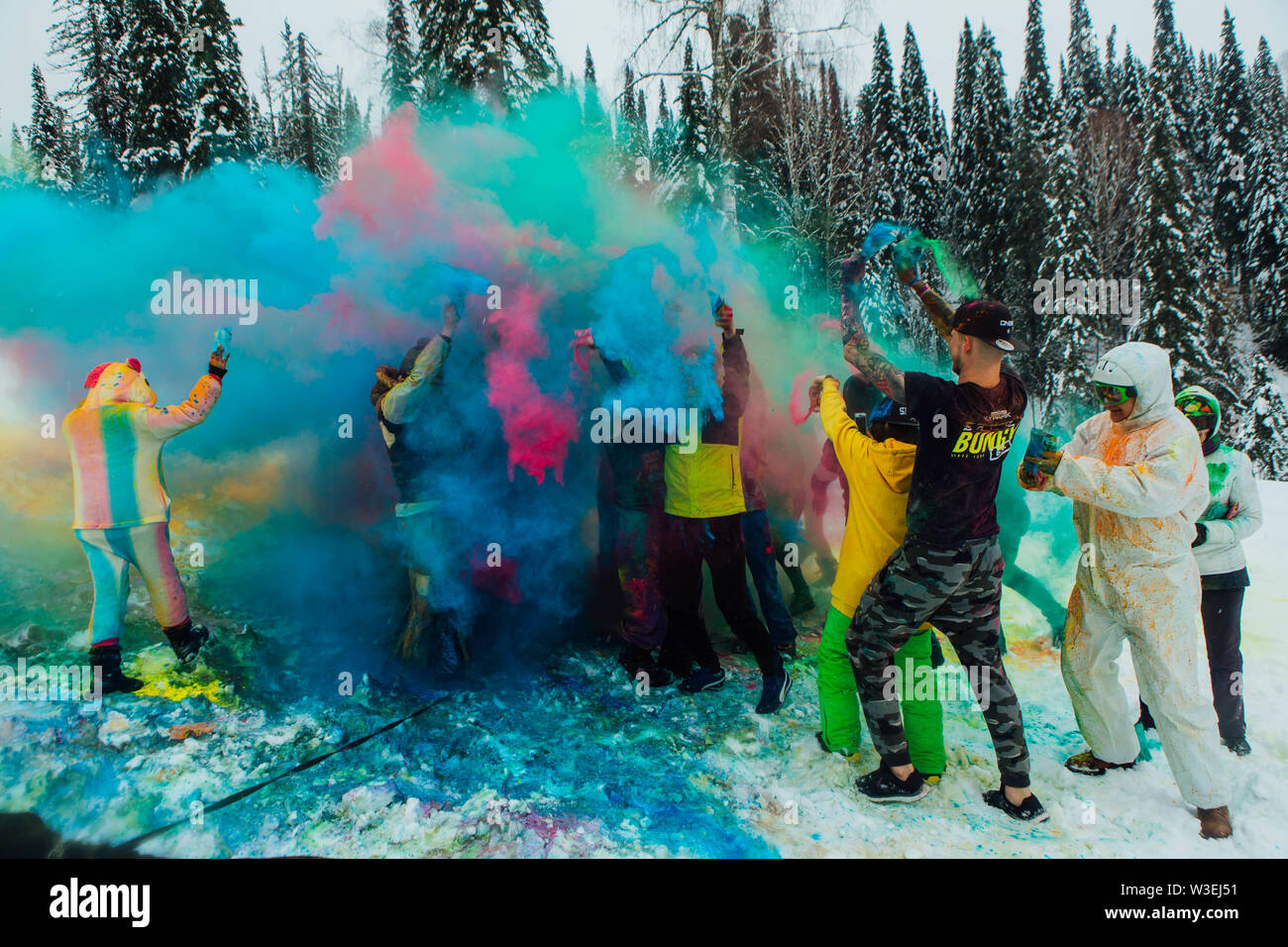 Sheregesh, Kemerovo region, Russia - April 06, 2019: Grelka Fest is a sports and entertainment activity for ski and snowboard riders in bikini. A grou Stock Photo