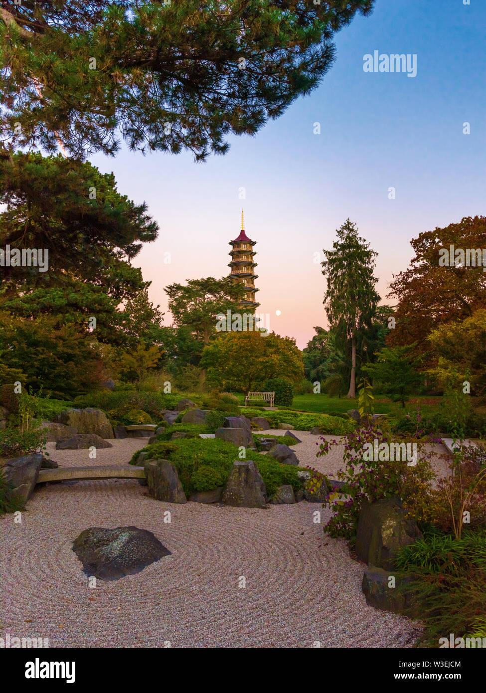 Japanese landscape, Kew Gardens, London, UK - Stock Image