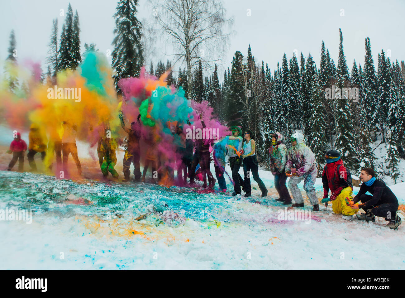Sheregesh, Kemerovo region, Russia - April 06, 2019: Grelka Fest is a sports and entertainment activity for ski and snowboard riders in bikini. A grou - Stock Image