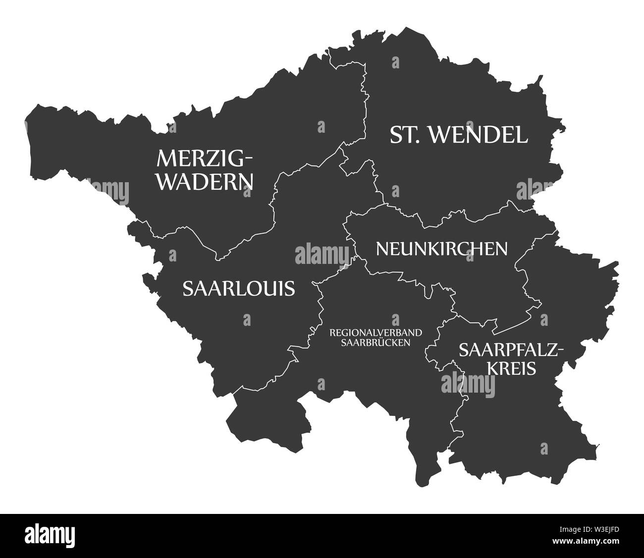 Modern Map Of Germany.Modern Map Saarland Map Of Germany With Counties And