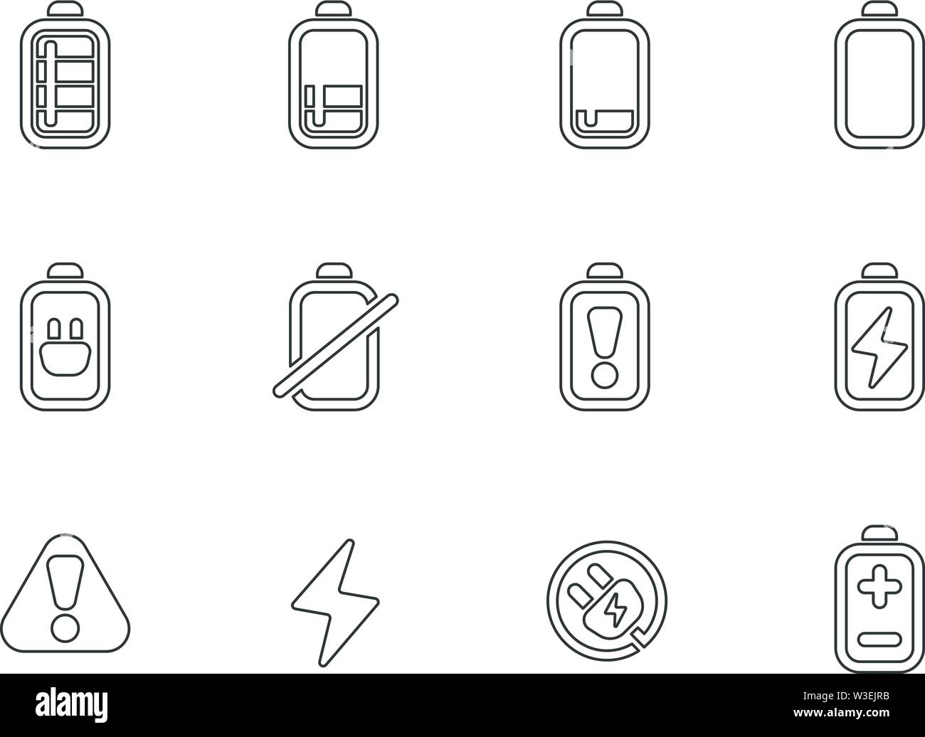 Battery line icons set isolated for user interface design. vector illustration - Stock Image