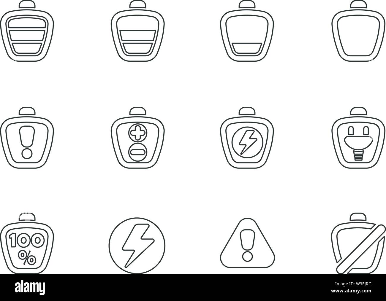 Battery line icons set isolated for user interface design - Stock Image