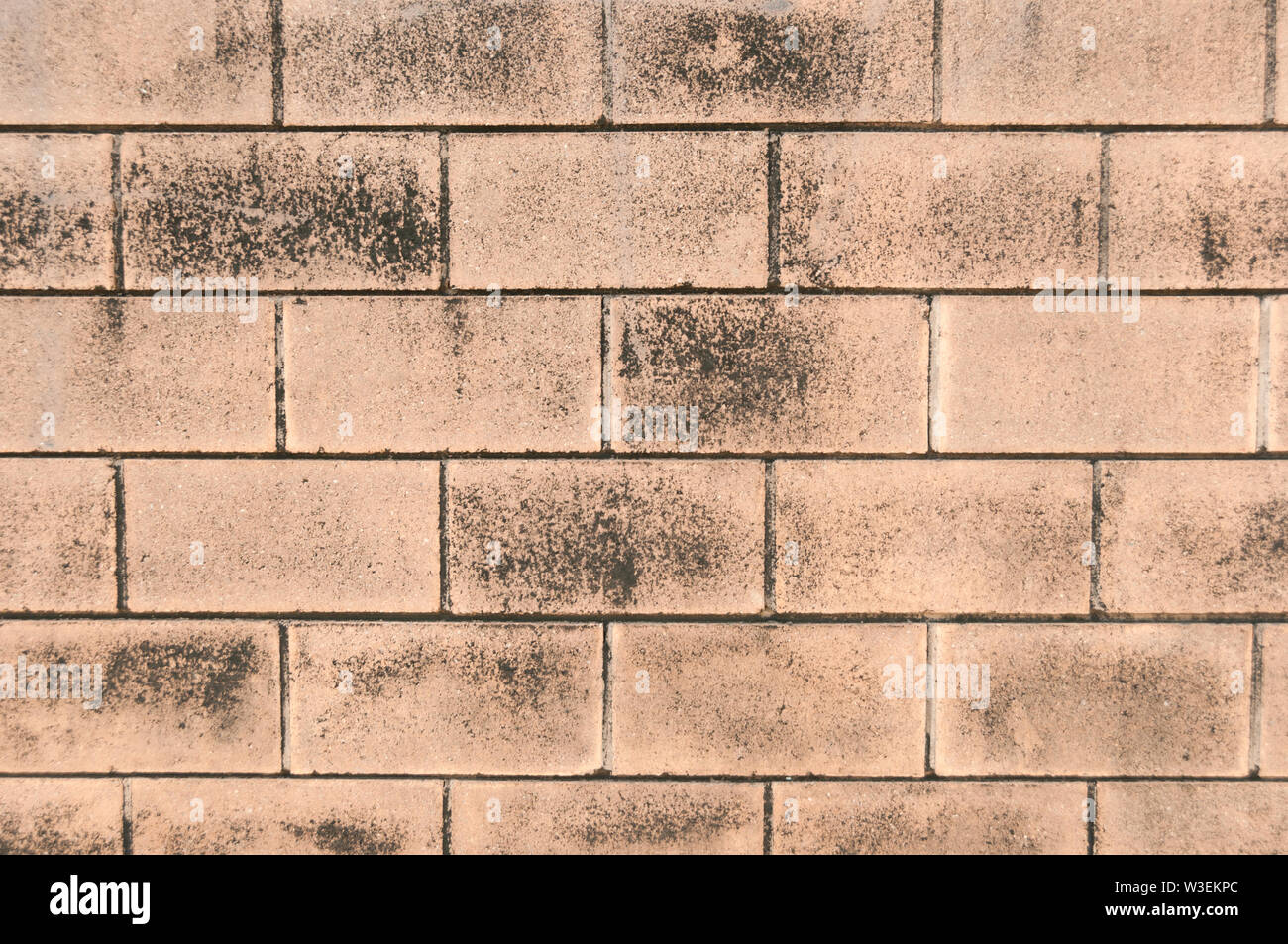 Textured, aged, red brick wall close up pattern for background Stock Photo